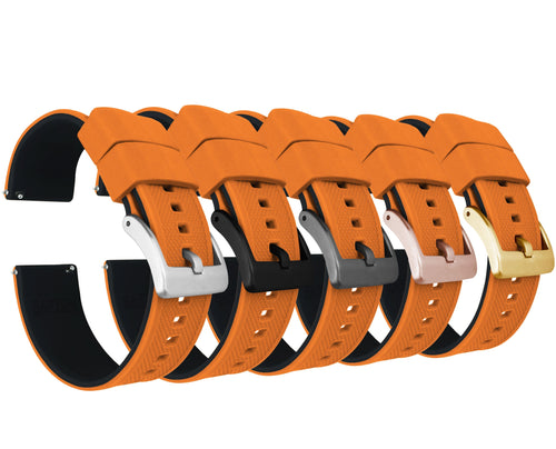 Pumpkin Orange Top / Black Bottom | Elite Silicone - Barton Watch Bands