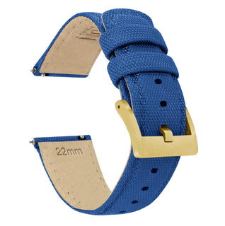 Load image into Gallery viewer, Royal Blue | Sailcloth Quick Release Sailcloth Quick Release Barton Watch Bands 18mm Gold