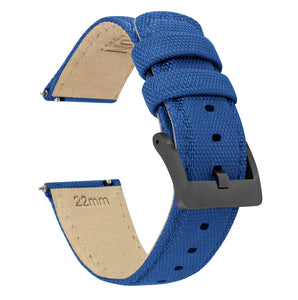 Royal Blue | Sailcloth Quick Release Sailcloth Quick Release Barton Watch Bands 18mm Gunmetal Grey
