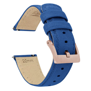 Load image into Gallery viewer, Royal Blue | Sailcloth Quick Release Sailcloth Quick Release Barton Watch Bands 18mm Rose Gold