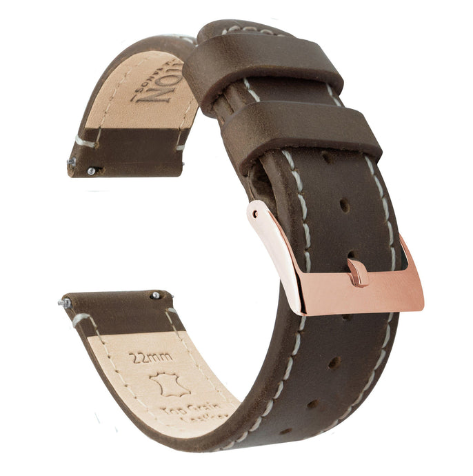 Saddle Leather | Linen Stitching Quick Release Leather Watch Bands Barton Watch Bands 20mm Rose Gold Standard