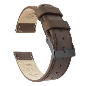 Saddle Leather | Saddle Stitching Quick Release Leather Watch Bands Barton Watch Bands 20mm Gunmetal Grey Standard
