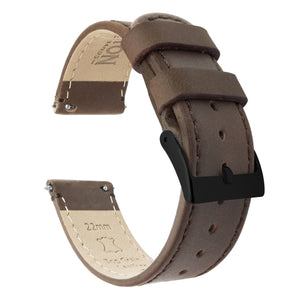 Saddle Leather | Saddle Stitching Quick Release Leather Watch Bands Barton Watch Bands 22mm Black PVD Standard
