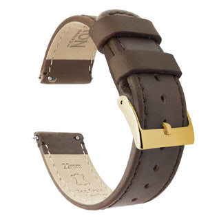 Load image into Gallery viewer, Saddle Leather | Saddle Stitching Quick Release Leather Watch Bands Barton Watch Bands 22mm Gold Standard