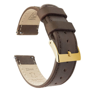 Saddle Leather | Saddle Stitching Quick Release Leather Watch Bands Barton Watch Bands 22mm Gold Standard