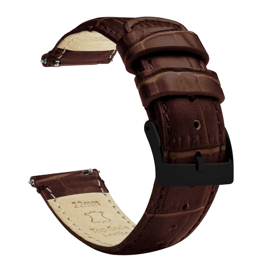 Samsung Galaxy Watch Active 2 | Coffee Brown Alligator Grain Leather Samsung Galaxy Watch Active 2 Barton Watch Bands Black PVD