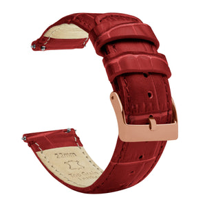 Samsung Galaxy Watch Active | Crimson Red Alligator Grain Leather Samsung Galaxy Watch Active Barton Watch Bands Rose Gold