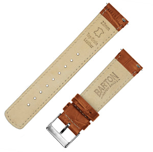 Samsung Galaxy Watch Active | Toffee Brown Alligator Grain Leather Samsung Galaxy Watch Active Barton Watch Bands