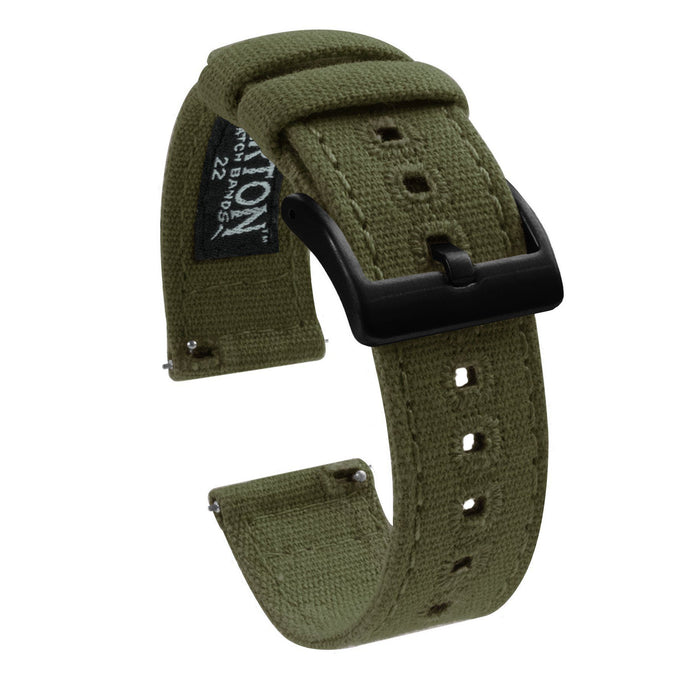 Samsung Galaxy Watch | Army Green Canvas Samsung Galaxy Watch Barton Watch Bands 46mm Galaxy Watch Black PVD
