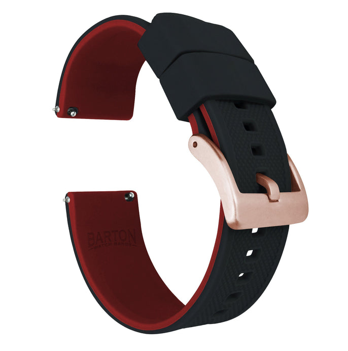 Samsung Galaxy Watch | Elite Silicone | Black Top / Crimson Red Bottom Samsung Galaxy Watch Barton Watch Bands 42mm Galaxy Watch Rose Gold Standard