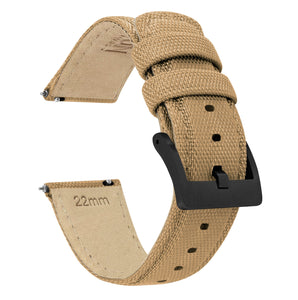 Samsung Galaxy Watch | Sailcloth Quick Release | Khaki Tan Samsung Galaxy Watch Barton Watch Bands 42mm Galaxy Watch Black PVD