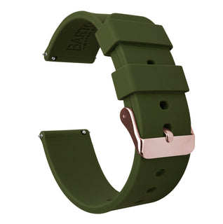 Load image into Gallery viewer, Samsung Galaxy Watch | Silicone | Army Green Samsung Galaxy Watch Barton Watch Bands 42mm Galaxy Watch Rose Gold