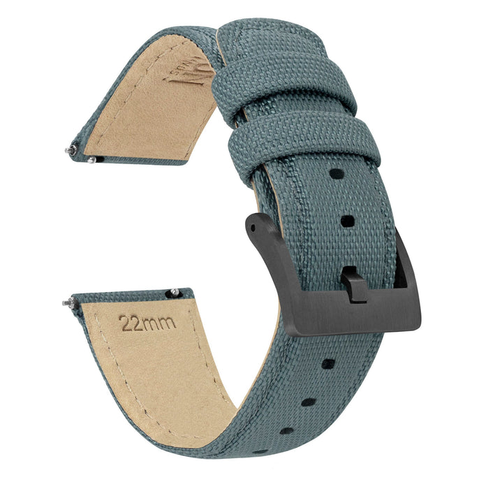 Slate Grey | Sailcloth Quick Release Sailcloth Quick Release Barton Watch Bands 18mm Gunmetal Grey