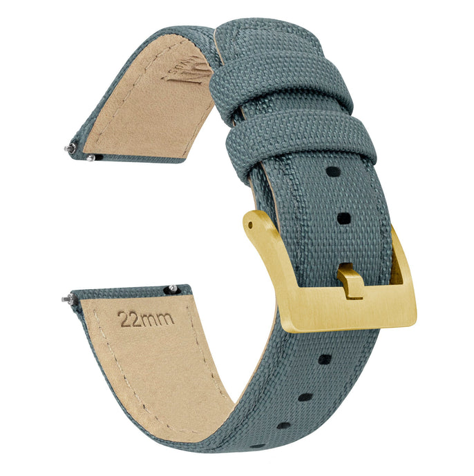 Slate Grey | Sailcloth Quick Release Sailcloth Quick Release Barton Watch Bands 22mm Gold