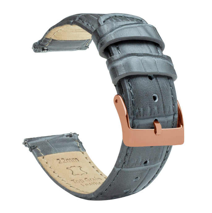 Smoke Grey | Alligator Grain Leather Quick Release Leather Watch Bands Barton Watch Bands 18mm Rose Gold