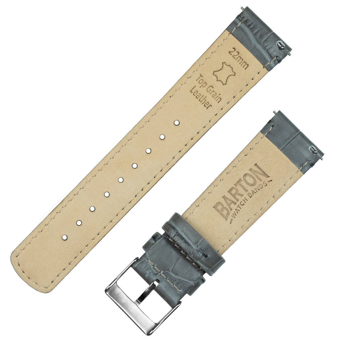 Smoke Grey | Alligator Grain Leather Quick Release Leather Watch Bands Barton Watch Bands
