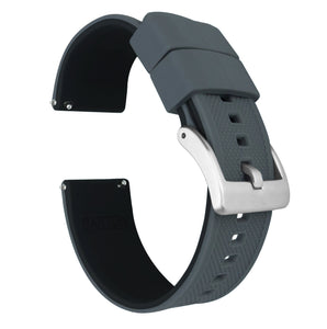 Smoke Grey Top / Black Bottom | Elite Silicone Elite Silicone Barton Watch Bands 22mm Stainless Steel Standard