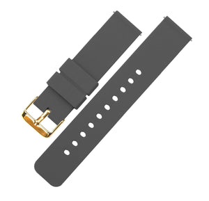 Smokey Grey | Soft Silicone Quick Release Silicone Watch Band Barton Watch Bands 16mm Gold