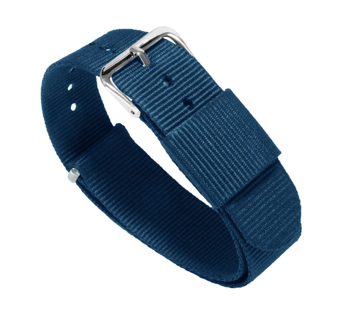 Steel Blue | Nylon NATO Style NATO Style Nylon Strap Barton Watch Bands 22mm Long - 11""