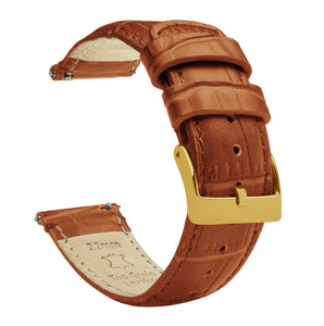 Toffee Brown | Alligator Grain Leather Quick Release Leather Watch Bands Barton Watch Bands 16mm Gold Standard