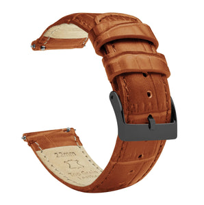Toffee Brown | Alligator Grain Leather Quick Release Leather Watch Bands Barton Watch Bands 16mm Gunmetal Grey Standard