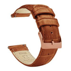 Toffee Brown | Alligator Grain Leather Quick Release Leather Watch Bands Barton Watch Bands 16mm Rose Gold Standard