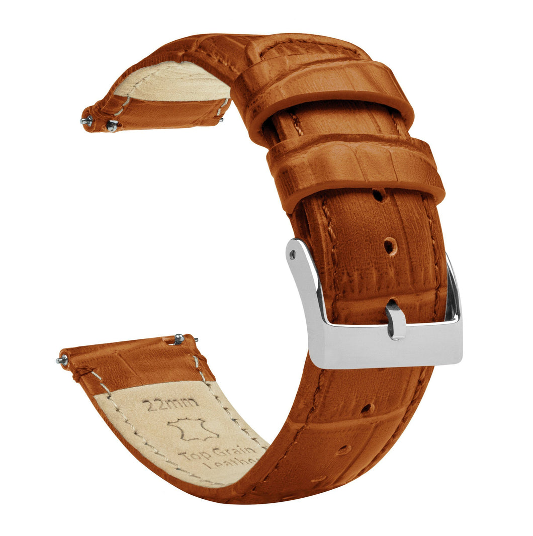 Toffee Brown | Alligator Grain Leather Quick Release Leather Watch Bands Barton Watch Bands 16mm Stainless Steel Standard