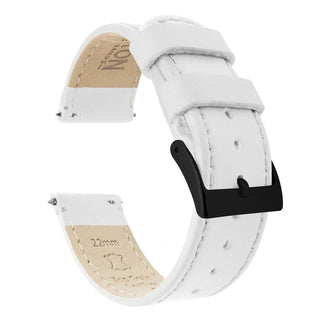 Load image into Gallery viewer, White Leather | White Stitching Quick Release Leather Watch Bands Barton Watch Bands 18mm Black PVD