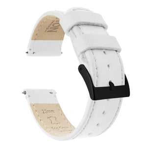 White Leather | White Stitching Quick Release Leather Watch Bands Barton Watch Bands 18mm Black PVD
