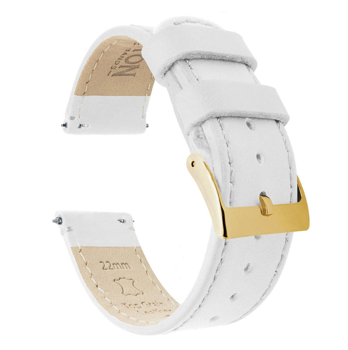 White Leather | White Stitching Quick Release Leather Watch Bands Barton Watch Bands 18mm Gold