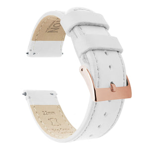 White Leather | White Stitching Quick Release Leather Watch Bands Barton Watch Bands 18mm Rose Gold