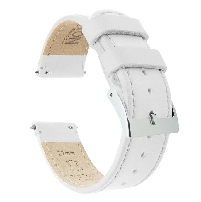 White Leather | White Stitching Quick Release Leather Watch Bands Barton Watch Bands 22mm Stainless Steel