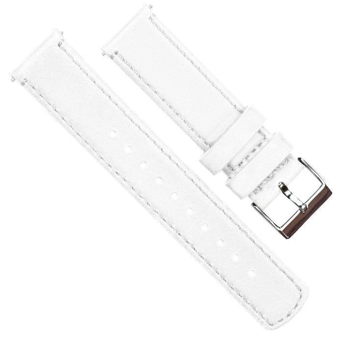 White Leather | White Stitching Quick Release Leather Watch Bands Barton Watch Bands