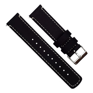 Withings Nokia Activité and Steel HR | Black Leather & Linen White Stitching - Barton Watch Bands
