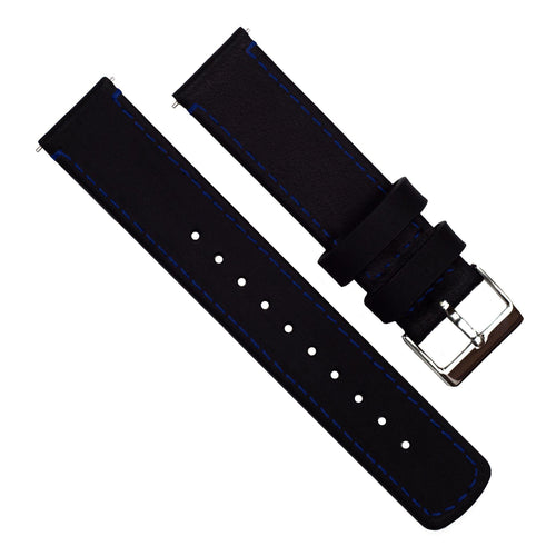 Zenwatch & Zenwatch 2 | Black Leather & Blue Stitching Zenwatch Watch Band Barton Watch Bands