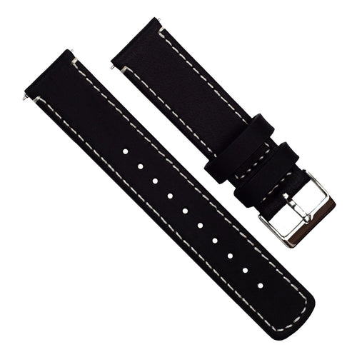 Zenwatch & Zenwatch 2 | Black Leather & Linen White Stitching Zenwatch Watch Band Barton Watch Bands