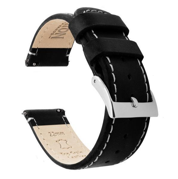 Zenwatch & Zenwatch 2 | Black Leather & Linen White Stitching Zenwatch Watch Band Barton Watch Bands Zenwatch (22mm band)