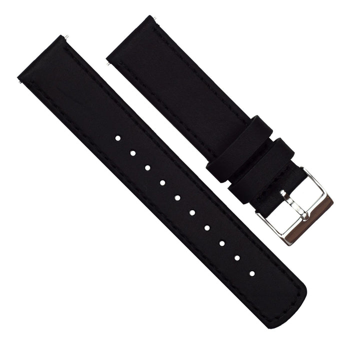 Zenwatch & Zenwatch 2 | Black Leather & Stitching Zenwatch Watch Band Barton Watch Bands
