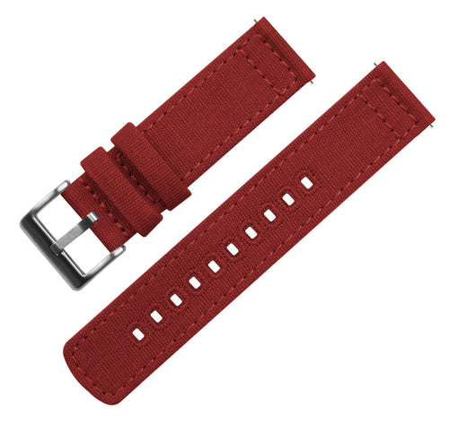 Zenwatch & Zenwatch 2 | Crimson Red Canvas Zenwatch Watch Band Barton Watch Bands