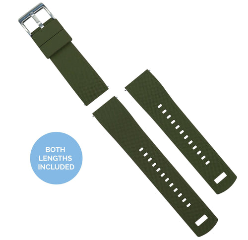 Zenwatch & Zenwatch 2 | Elite Silicone | Army Green Top / Black Bottom Zenwatch Watch Band Barton Watch Bands