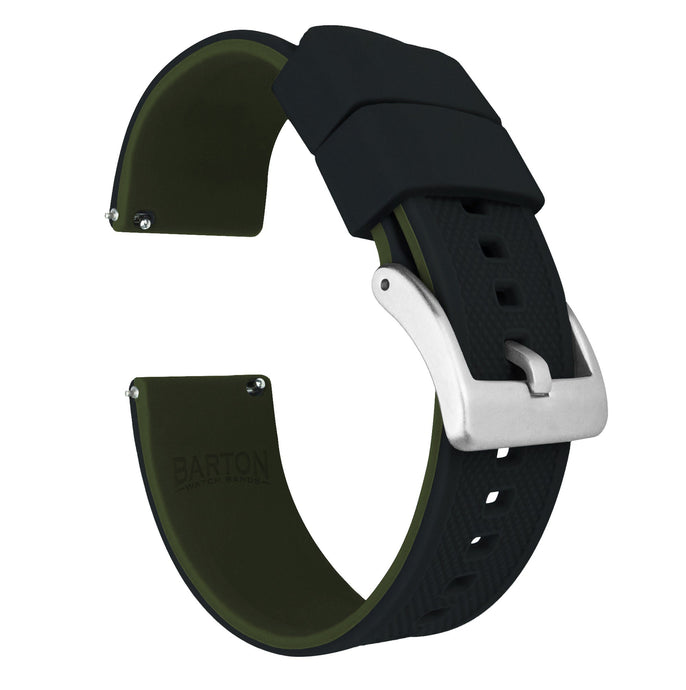 Zenwatch & Zenwatch 2 | Elite Silicone | Black Top / Army Green Bottom Zenwatch Watch Band Barton Watch Bands Zenwatch (22mm band)