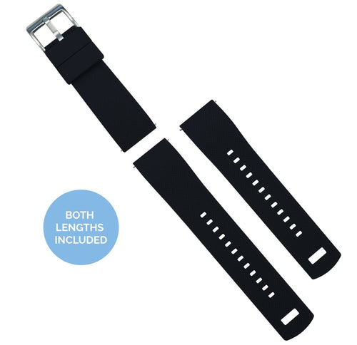 Zenwatch & Zenwatch 2 | Elite Silicone | Black Zenwatch Watch Band Barton Watch Bands