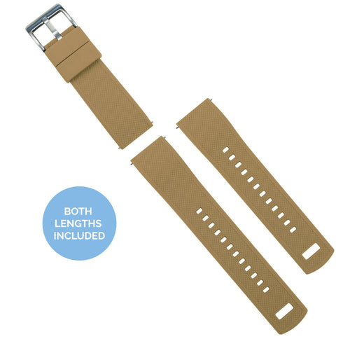 Zenwatch & Zenwatch 2 | Elite Silicone | Khaki Tan Top / Black Bottom Zenwatch Watch Band Barton Watch Bands