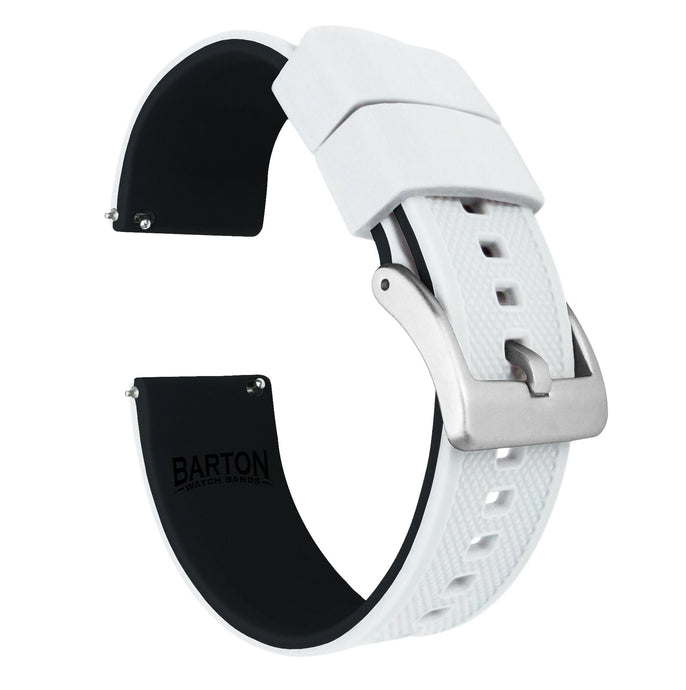 Zenwatch & Zenwatch 2 | Elite Silicone | White Top / Black Bottom Zenwatch Watch Band Barton Watch Bands Zenwatch (22mm band)