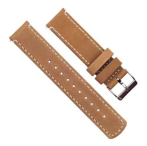 Zenwatch & Zenwatch 2 | Gingerbread Brown Leather & Linen White Stitching Zenwatch Watch Band Barton Watch Bands