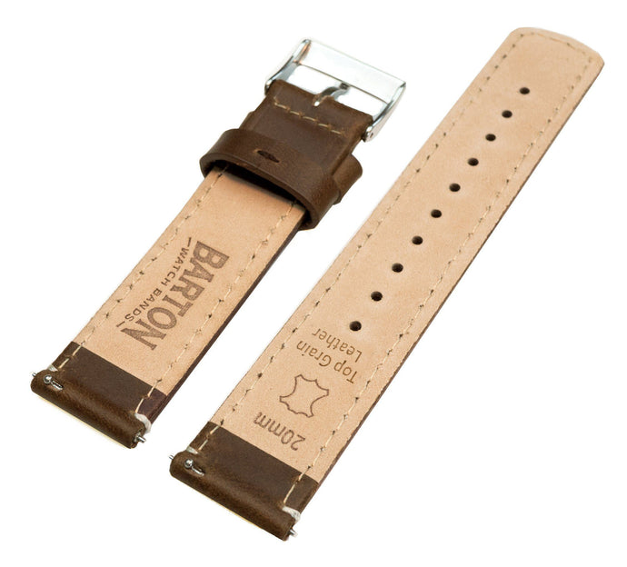 Zenwatch & Zenwatch 2 | Saddle Brown Leather & Linen White Stitching Zenwatch Watch Band Barton Watch Bands