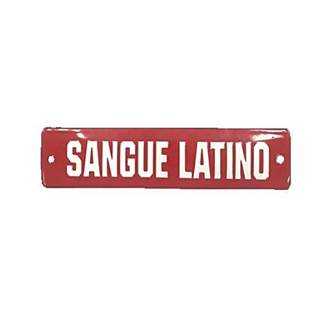 Placa Decorativa Esmaltada Sangue Latino