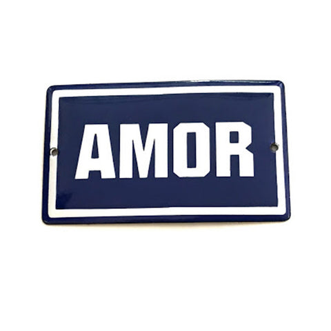 Placa Decorativa Esmaltada Amor