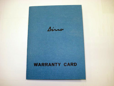 Blue Dino Warranty Book