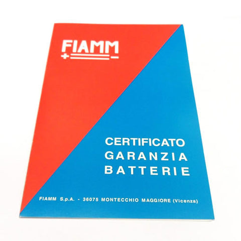 FIAMM Battery Guarantee Certificate